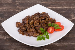 Fried chicken livers Royalty Free Stock Photography
