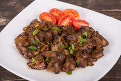 Fried chicken livers Stock Photos