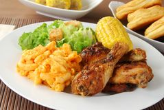 Fried chicken with macaroni and cheese Stock Images