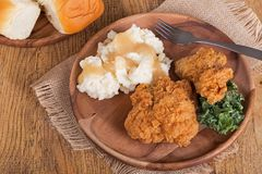 Fried Chicken and Mashed Potato Dinner Stock Images