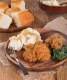 Fried Chicken and Mashed Potato Dinner Royalty Free Stock Photo