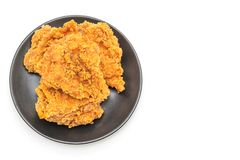 Fried chicken meal (junk food and unhealthy food. ) isolated on white background stock photos