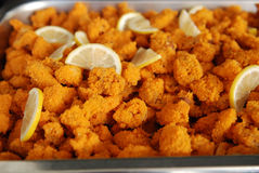 Fried chicken meats and lemon Royalty Free Stock Images