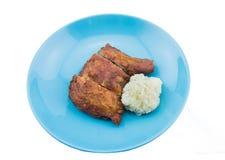 Fried Chicken met kleverige rijst Royalty-vrije Stock Afbeeldingen