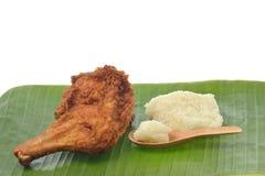 Fried Chicken mit klebrigem Reis Stockfotografie