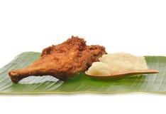 Fried Chicken mit klebrigem Reis Lizenzfreie Stockfotografie