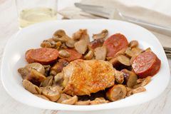 Fried chicken with mushrooms Stock Photography