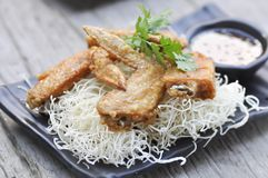 Fried chicken and fried noodle Stock Photos