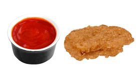 Fried chicken nugget and ketchup stock photos