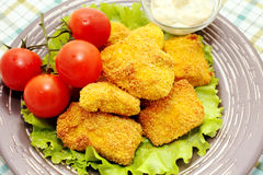 Fried chicken nuggets royalty free stock photos