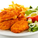 Fried Chicken Nuggets And Vegetables Royalty Free Stock Images