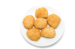 Fried chicken nuggets on a ceramic dish Royalty Free Stock Photography