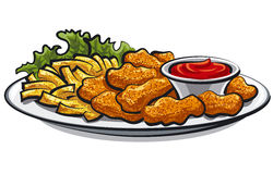 Fried chicken nuggets and fries Stock Image