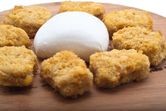 Fried chicken nuggets and mozzarella cheese Stock Image