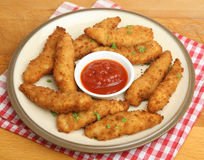 Fried Chicken Nuggets with Tomato Ketchup Stock Photos