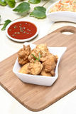 Fried chicken nuggets in white bowl Royalty Free Stock Photos
