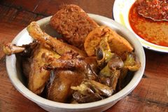 Fried Chicken with Offal, Beancurd and Tempeh. A platter of fried chicken with liver, gizzard, beancurd and tempeh. These are the typical accompaniment for Nasi Royalty Free Stock Image