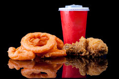 Fried Chicken, Onion Ring and soft drink in Fast Food Royalty Free Stock Photos