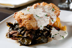 Fried chicken over collard greens Royalty Free Stock Photos