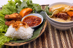 Fried Chicken and Oxtail Soup. An Indonesian traditional food, fried chicken and oxtail soup Royalty Free Stock Images