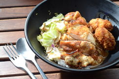 Fried Chicken Oyster-Reis Lizenzfreie Stockfotografie
