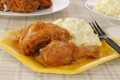 Fried chicken on a picnic plate Royalty Free Stock Images