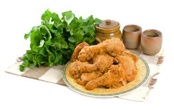 Fried Chicken Pieces Stock Photos
