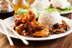 Fried chicken pieces with sweet and sour sauce Royalty Free Stock Photo