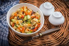Fried chicken pieces with vegetables. Royalty Free Stock Photography