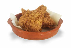 Fried Chicken Plate. Crispy Fried Chicken Breasts in Basket stock images