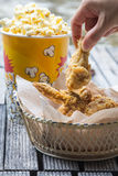 Fried chicken and popcorn Stock Image