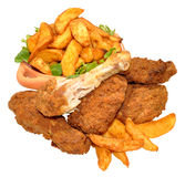 Fried Chicken Portions And Potato Wedges Stock Photos