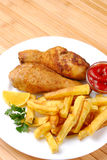 Fried chicken with potato Stock Image