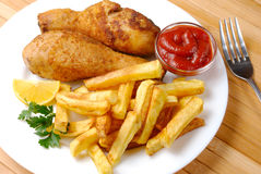 Fried chicken with potato Royalty Free Stock Image