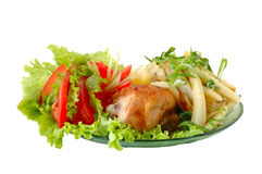 Fried chicken and potato. With vegetables (tomato and lettuce Stock Photo
