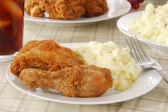 Fried chicken and potato salad royalty free stock image