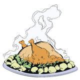Fried chicken with potatoes. Stock illustration stock image