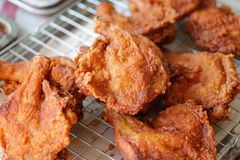Fried chicken ready for sale. Crispy chicken royalty free stock photography