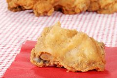 Fried chicken on red napkin Stock Image