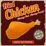 Fried chicken retro poster Stock Image