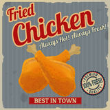 Fried chicken retro poster Stock Images