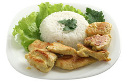 Fried chicken with rice Stock Image