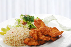 Fried chicken with rice Stock Photo
