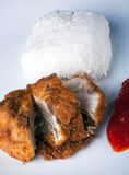 Fried Chicken with rice and chili sauce. In vertical Stock Image