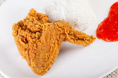 Fried Chicken and Rice , Fast food Royalty Free Stock Image