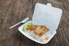 Fried chicken with rice in foam box Stock Photos
