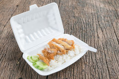 Fried chicken with rice in foam box Royalty Free Stock Image