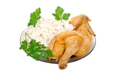 Fried chicken with rice garnish Stock Photography