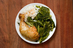 Fried chicken with rice and kale Stock Photography