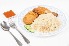Fried chicken rice set Stock Photo